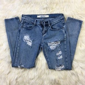 Brandy Melville Destroyed Ripped skinny Jeans 24